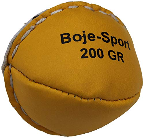 Boje Sport Wurfball, Schlagball aus Leder, 200 g, Farbe gelb für Schulen, Vereine und Wettkämpfe, Wurfübungen, Wurftraining, Trainingswurfball, Wurftechnik
