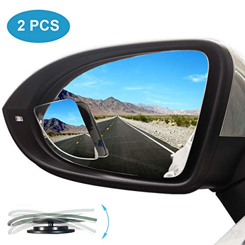 Kitbest Blind Spot Mirror, Car Side Mirror HD Glass Frameless Convex Rear View Mirror Adjustable Auto Blindspot Mirror for Wide Angle View, Stick On Design (Pack of 2)