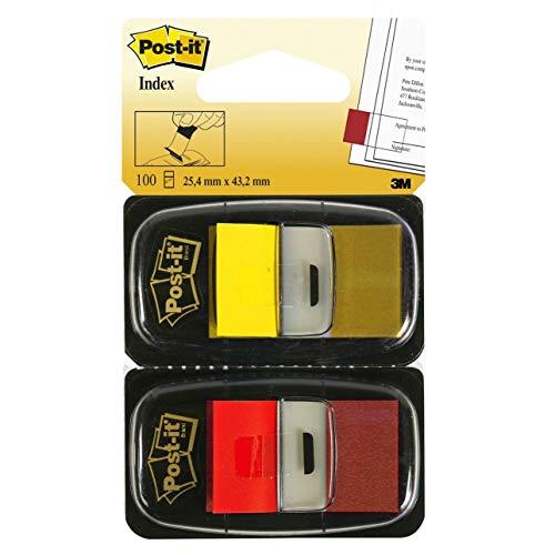 Post-it I680-RY2 Haftstreifen Index Standard, 2 x 50 Haftstreifen im Spender, 25,4 x 43,2 mm, rot, gelb