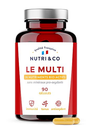 Multivitamines et Minéraux 26 Nutriments • Zinc, Vitamines A B C D3 E K2 Bio-actives & Minéraux Haute Absorption • Complexe Vitalité Homme Femme • 90 Gélules Made in France • Nutri&Co