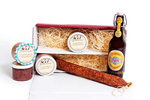 Feinkost Präsentkorb mit Salami und Bier – Geschenkset Männer mit Ahle Wurscht, 0,5L Bierflasche – Wurst Snack in vier verschieden Varianten. Perfektes Geschenk für Männer