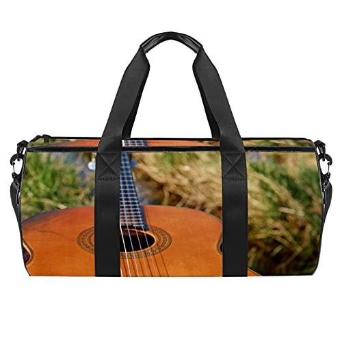 Borse da spiaggia da viaggio, grande sport palestra durante la notte borsone chitarra a corda stampa strumento borsa a tracolla con tasca asciutta bagnata