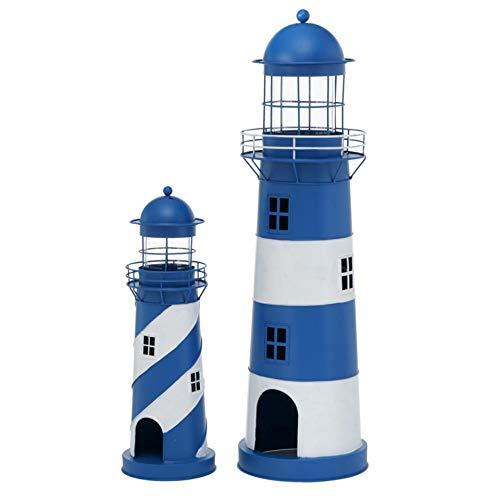 Metall Laterne Windlicht 2er Set Sortiert Leuchtturm H 48-75 cm blau weiß Eisen