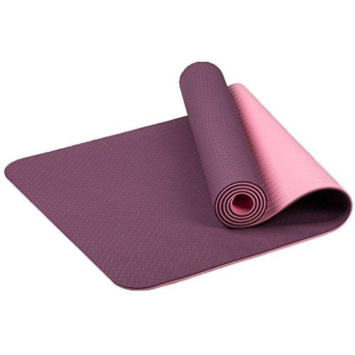 MAXYOGA® Esterilla para Yoga/Pilates/Gimnasia de Material ecológico TPE. Yoga Colchoneta Esterilla Antideslizante y Ligero con Grosor de 6mm, tamaño 183cm x 61cm. -Lila