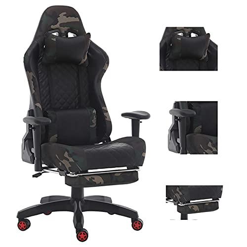 Gaming-Stuhl mit Fußstütze, Gaming-Stuhl für Erwachsene, Gaming-Stuhl billig, Gaming-Stuhl Massage Ergonomischer Liegesessel Büro Gaming Stuhl (Camouflage mit Fußstütze (LM), 1)