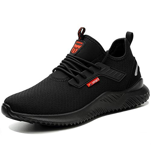 NACKINg Sicherheitsschuhe Herren S3 Arbeitsschuhe Damen Leicht Sportlich Atmungsaktiv Schutzschuhe Stahlkappe Sneaker,Schwarz-b,45EU,(275)
