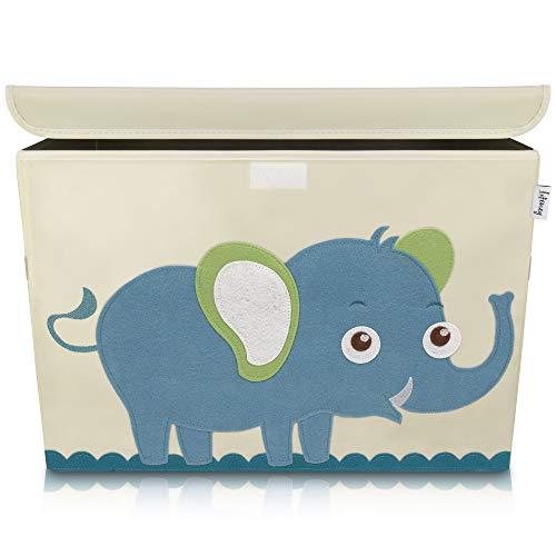 Lifeney Aufbewahrungsbox Kinder 51 x 36 x 36 cm I Kiste mit Deckel für Kinderzimmer I Aufbewahrungsbox mit Deckel I Boxen Aufbewahrung mit Tiermuster I Spielzeug Aufbewahrung (Elefant)