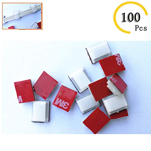 100 Pcs Strip Light Mounting Clips Self Adhesive LED Strip Light Mounting Brackets Holder Wire Management Clip for 10mm(3/8') Wide LED Strip Light