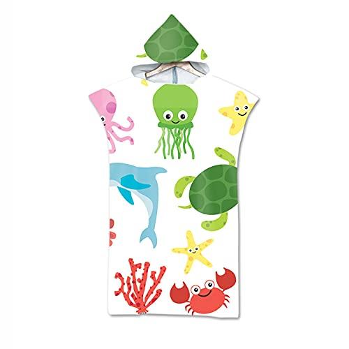 RZHIXR Toalla De Playa Suave Y Absorbente con Capucha, Linda Toalla De Baño De Animales Marinos De Dibujos Animados, Cambiador De Albornoz para Niños Y Adultos (75X110Cm)