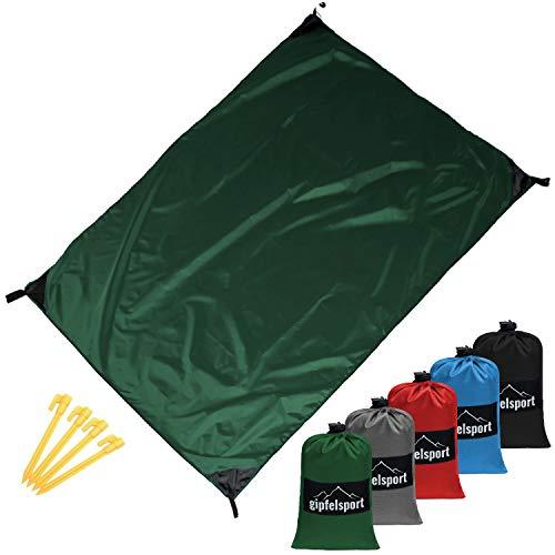 gipfelsport Picknickdecke - Outdoor Picknick Decke I Stranddecke, wasserdicht, waschbar, sandfrei I 200x140 cm groß I grün