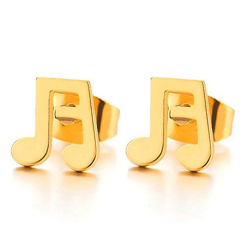 Color Oro Muestra Música Notas Viga Pendientes de Mujer Hombre, Acero Inoxidable, 2 Piezas