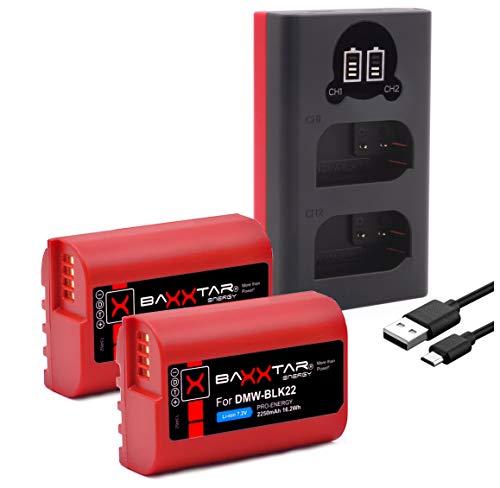 Baxxtar Pro (2x) baterías BLK22 BLK22E (2250 mAh) con Mini LCD Dual Cargador (entrada USB-C y MicroUSB) compatible con Panasonic DC S5 S5K G9 GH5 GH5 II GH5S