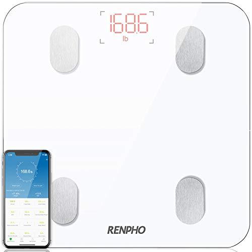 RENPHO Balance Connectée Balance Pèse Personne, Pèse Personne Impédancemètre, Bluetooth Balance Salle de Bains Impedancemetre avec 13 Données Corporelles (BMI/Muscle/Graisse Corporelle/Masse Osseuse)