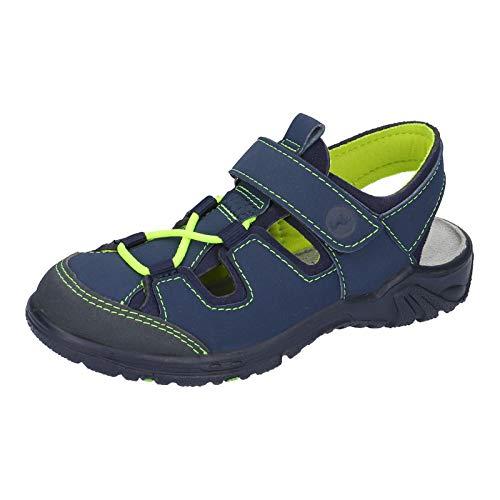 RICOSTA Jungen Sandale 71-6522600 Gerald Lederimitat Textil Synthetiksohle Klett, Groesse 34, Marine/grün