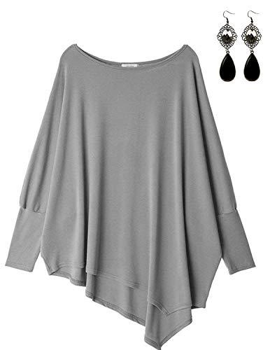 Sitengle Damen Langarmshirt Blusen Asymmetrisch Solide T shirt Casual Loose Rundhals Langshirt Oberteil Tops Hellgrau, Grau 2, One Size=EU 34-46