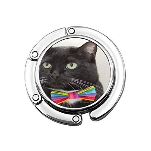 SHIZI Colgador plegable para bolso de mano, gancho para la mesa del coche, bolsa de almacenamiento de folle, animal azul, esmoquin y gato con varios colores gay Pride pajarita roja hermosa