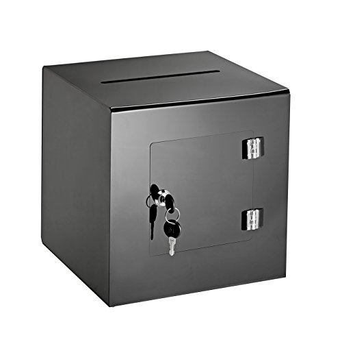 AdirOffice 10'' x 10'' Acrylic Ballot Box Donation Box with Easy Open Rear Door - Durable Acrylic Box with Lock - Ideal for Voting, Charity & Suggestion Collection - Black