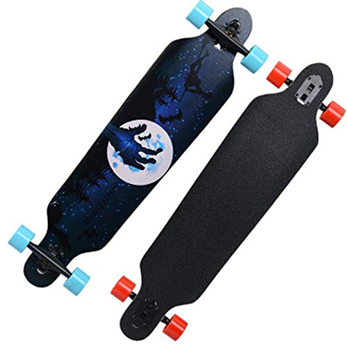 MYLEDI Longboard 40 inch,Ahorn Long Board Skateboard Komplettboard Drop-Through Cruiser Board mit ABEC-11 High-Speed Kugellager,Longboard Farben zur Wahl,Magicstarrysky