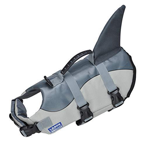 Chaleco salvavidas para perro, chaleco de flotación para perro, dispositivo de rescate de natación, salvavidas, traje de baño con correa ajustable y mango de rescate