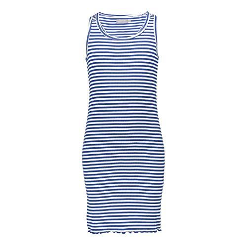 Geisha meisjes geribde jurk gestreept blauw wit 07064K