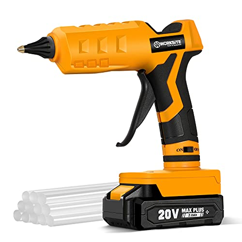 Hot Glue Gun, 20V Cordless Glue Gun Full Size with 12 Pcs Glue Sticks for Arts & Crafts & DIY, 2.0 Ah Li-ion Battery and Charger Included, WORKSITE