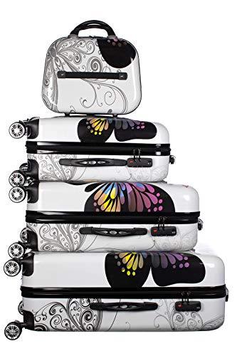 Birendy Reisekoffer Polycarbonat Hartschalen Hardcase Trolley mit Zahlenschloss Koffer Kofferset 4 Rollen einfacher Transport (A10-Schmetterling weiß, Set...