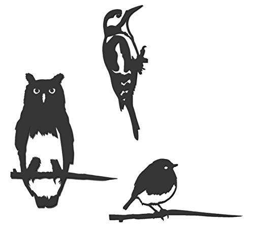 Metalbird Vögel zum Bepflanzen, Größe Mini, aus Kortenstahl, 3 Stück