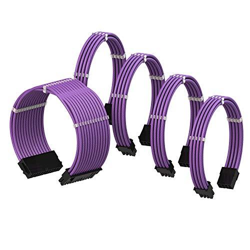 LINKUP - Cable con Manguito - Prolongación de Cable para Fuente de Alimentación con Kit de Alineadores | 1x 24P (20+4) MB | 2X 8P (4+4) CPU | 2X 8P (6+2) GPU | 50CM 500MM - Púrpura