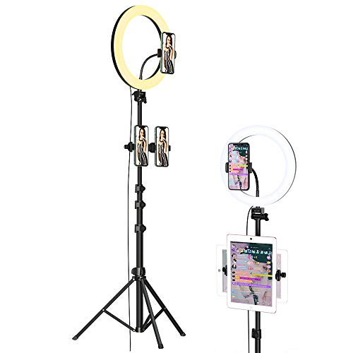 """hoco. Ring Light with Tripod Stand & Phone Holder 3 Light Modes 10 Brightness 12""""LED Dimmable Selfie Ring Light Kit for Makeup/Live Streaming/Tiktok/YouTube Video Shooting with iPhone/ipad/Android"""