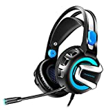 Gaming Headset, Wired Over Ear Headphones for Xbox One, PS4, PC, Bluetooth Wireless Headset for Phone, Bluetooth Up to 12h, One-Click 7.1 Stereo Sound, Detachable Noise Cancelling Mic (G2000, Blue)