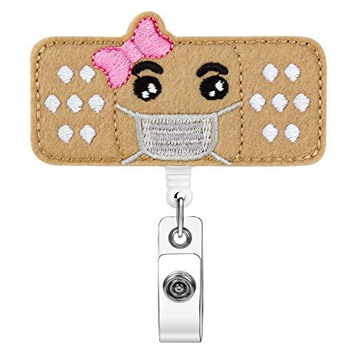 Retractable Badge Reel for Nurse, Xoqo Sequin Bandage Felt Badge Holder, Great Gifts for Nurses Volunteer Students Teachers, 24 inch Retractable Cord,Easy to Use & Resistant (Pink, Belt Clip)