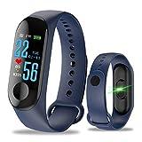 Aubess Braccialetto Fitness Tracker Orologio Cardiofrequenzimetro,M3 Impermeabile IP67 Pedometro GPS Pressione Sanguigna per iOS Android Donna Uomo Smartwatch (Blu)