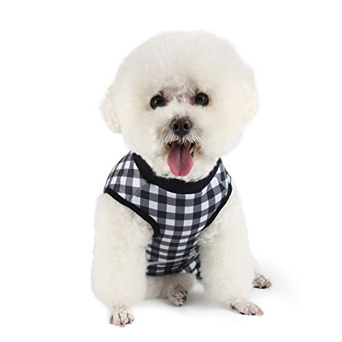 Etdane Small Dog Onesies Surgical Recovery Suit Abdominal Wounds Protector Post-Operative Shirt Pet E-Collar Alternative Vest for Home Outdoor Black Plaid Medium