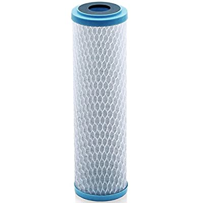 Universal KDF 55/Activated Carbon Water Filter Cartridge - 1 Micron - Replacement 10 inch CTO Water Purifier Filter, (NSF 42 Certified)