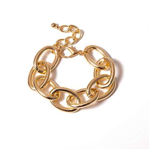 Big Gold Chunky Bracelets Punk Hand Chain Jewelry Personalidad Femenina Hiphop Cuban Link Chain Bracelets Brazaletes Mujeres/Niña