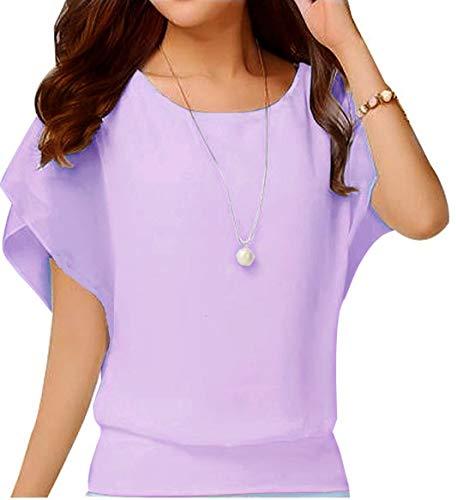 VIISHOW Women Chiffon Blouse Round Neck Short Sleeve Top Shirts Pink Large