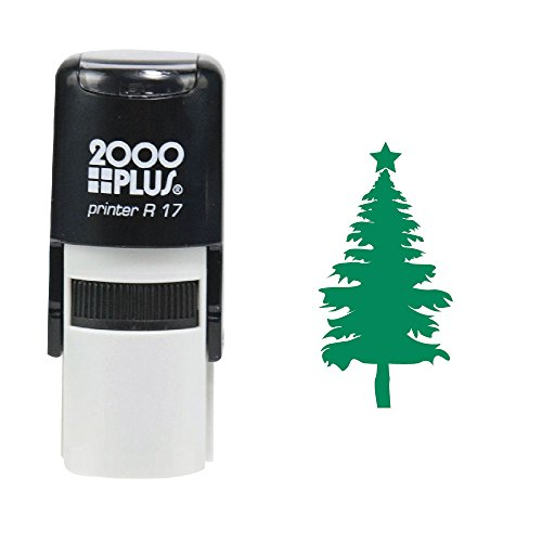 Christmas Tree 2000 Plus Self Inking Christmas Tree Decoration Rubber Stamp  Green Ink