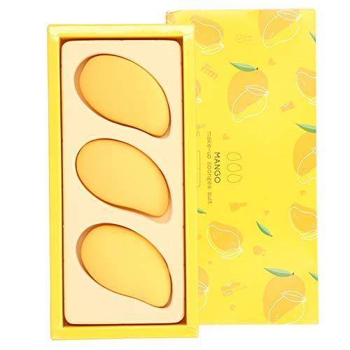Raviga Juego de 3 esponjas de maquillaje para base mixta de belleza, líquido, crema y polvo, color único, forma linda, herramienta de maquillaje