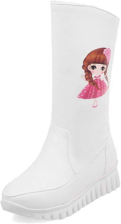AmoonyFashion Women's Pull-On Round-Toe Low-Heels Pu Mid-Calf Boots, BUSXT111479