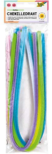 folia 77897 - Chenilledraht, Pfeifenputzer, 10 Stück sortiert in pastell Farben, Durchmesser 8 mm und 50 cm lang, ideal für Kinder zum Basteln und Gestalten von Tieren, Figuren und anderen Formen