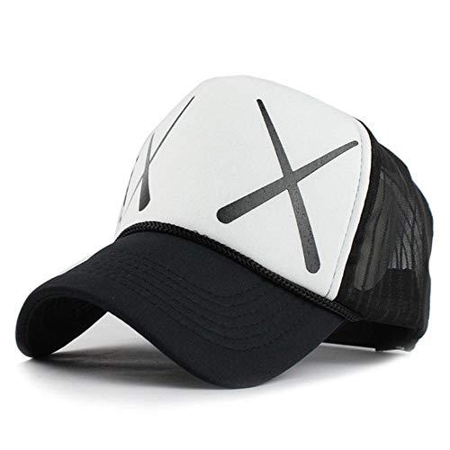 EDCV Baseballmütze 12 Styles Unisex Acryl 5 Paneele Verstellbare Baseballmütze Sommer Mesh Mützen Baseballmütze Herren Anliegende Hüte Mützen, F227 XX weiß