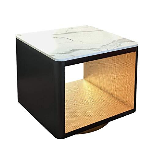 H-CAR Mesita de Noche Mesa Auxiliar de mármol Mesa de Centro Cuadrada Mesita de Noche pequeña para Sala de Estar Muebles de Dormitorio de Oficina (Tamaño: 60 cm)