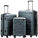 COOLIFE Koffer Reisekoffer Vergrößerbares Gepäck (Nur Großer Koffer Erweiterbar) PC + ABS Material mit TSA-Schloss und 4 Rollen(Teal, Koffer-Set)
