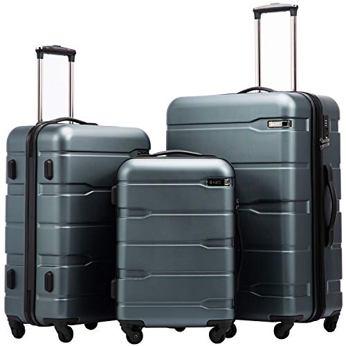 Coolife Luggage Expandable 3 Piece Sets PC+ABS Spinner Suitcase 20 inch 24 inch 28 inch (Teal New)