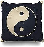 JONINOT Doble Cojines Fundas 18' Equilibrio Ying Yin Yang Vintage Zen Asiático Tao Taoísmo Antiguo Armonía Funda de Almohada Suave para la Piel