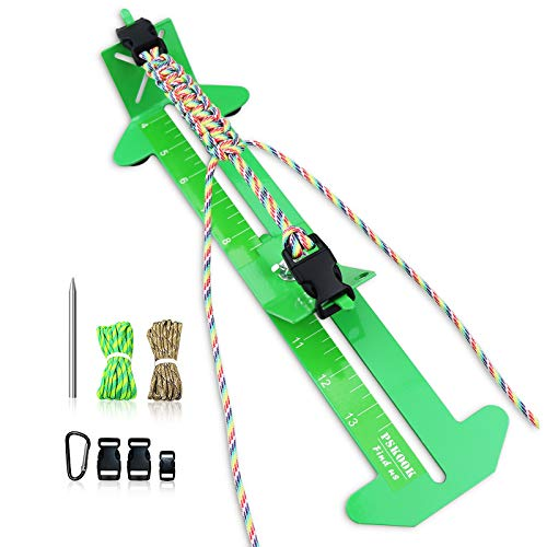 PSKOOK Paracord Bracelet Jig Kit Paracord Tool Kit Adjustable Length Weaving DIY Craft Maker Tool 4' to 13 Solid Steel Accessories(Green)