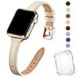 STIROLL Slim Leather Bands Compatible with Apple Watch Band 38mm 40mm 42mm 44mm, Top Grain Leather Watch Thin Wristband for iWatch Series 5/4/3/2/1 (Beige with Gold, 42mm/44mm)