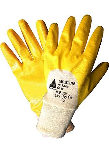 StrongAnt Arbeitshandschuhe ERFURT lite, Nitril teilbeschichtet mit Strickbund Garten Handschuhe 12 PAAR - Größe: 8