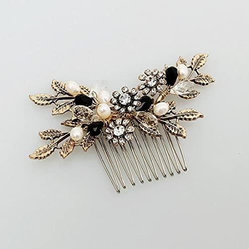 Peineta para el pelo, estilo vintage, con hojas doradas, con perlas, para...