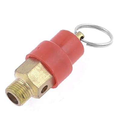 "1/8"" Dia Male Threaded Safety Air Compressor Pressure Relief Valve Red Gold Tone by Amico"